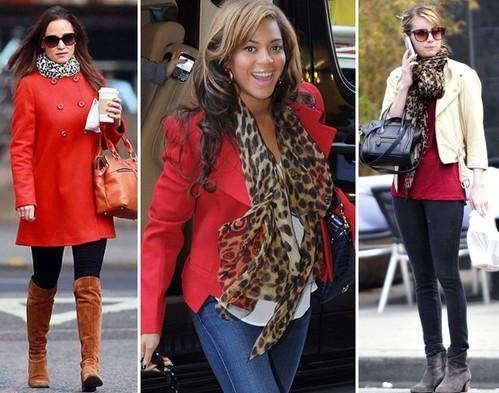 Красная одежда и леопардовый шарфик