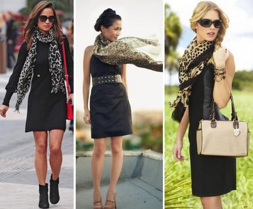 Черное платье и леопардовый шарфик