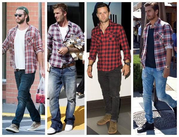 джинсы и клетчатая рубашка